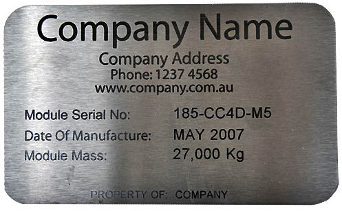 Laser engraved annealed stainless steel nameplate