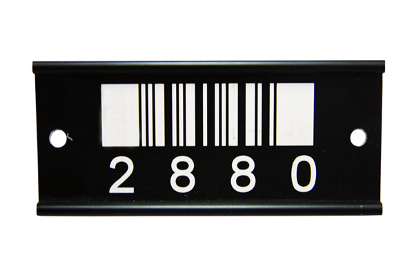 Laser marked anodised aluminium barcodes