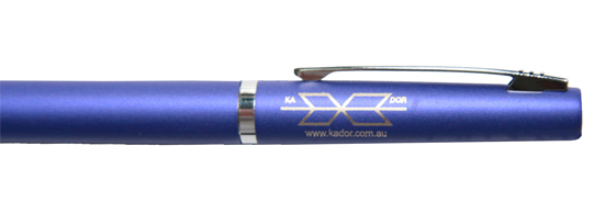 A pen which has been colour laser marked for promotional use