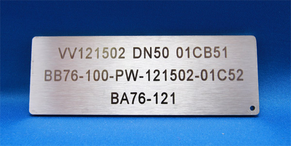 Laser engraved exterior grade stainless steel used in the mining industr