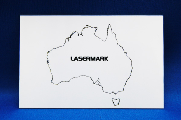 White board that has been laser marked with the image of Australia